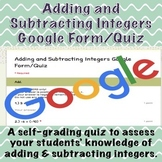 Adding and Subtracting Integers Google Form/Quiz (Distance