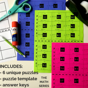 Adding and Subtracting Integers Group Puzzle