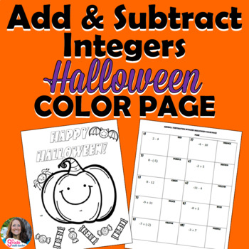 Adding and Subtracting Integers Halloween Color Page