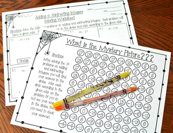 Adding and Subtracting Integers Halloween Coloring Worksheet