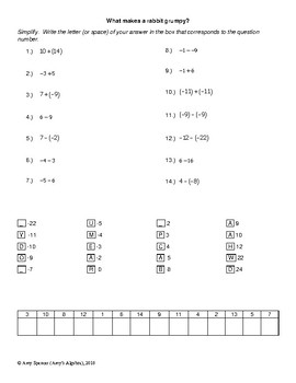 Adding and Subtracting Integers Joke Sheet