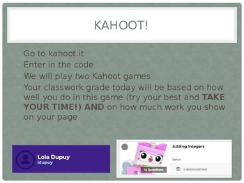 Adding and Subtracting Integers: Kahoot Review