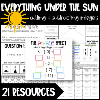 Adding and Subtracting Integers Lesson - Modeling, Computi