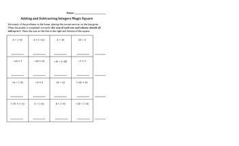 Adding and Subtracting Integers Magic Square