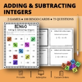 Adding and Subtracting Integers Math Bingo Review Game