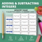 Adding and Subtracting Integers #2 Math Memory Game