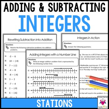 Adding and Subtracting Integers Stations by Make Sense of ...