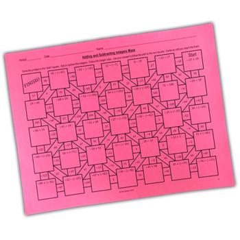 Adding and Subtracting Integers Maze + Bonus Mini Maze