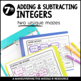 Adding and Subtracting Integers: Mazes