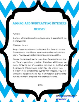 Adding and Subtracting Integers Memory