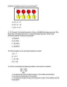 Adding and Subtracting Integers Multiple Choice Test