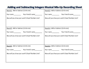 Adding and Subtracting Integers Musical Mix-Up TEKS 6.3C 6.3D