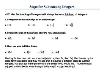 Adding and Subtracting Integers Notes