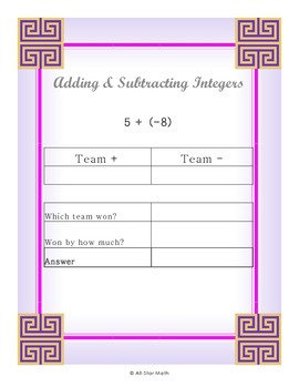 Adding and Subtracting Integers - Scoreboard Steps