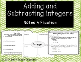 Adding and Subtracting Integers Notes and Practice Resources