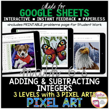 Adding and Subtracting Integers PIXEL ART (Made for Google Drive)