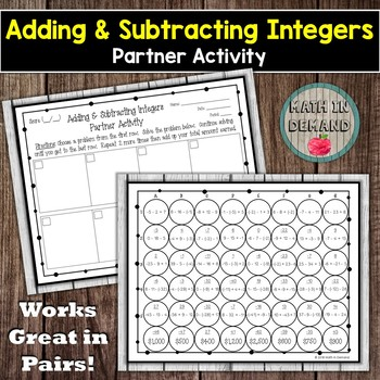 Adding and Subtracting Integers Partner Activity