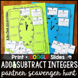 Adding and Subtracting Integers Partner Scavenger Hunt Act