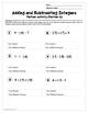 Adding and Subtracting Integers: Partner Worksheet