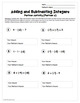 Adding and Subtracting Integers: Partner Worksheet