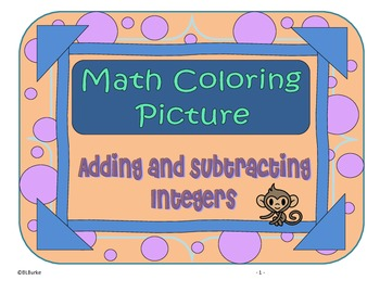 Adding and Subtracting Integer Word Problems - Common Core Picture - Monkey