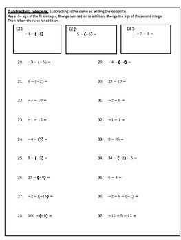 Adding and Subtracting Integers Practice