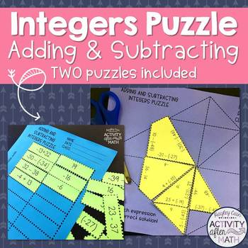 Adding and Subtracting Integers Puzzle! Two puzzles included!