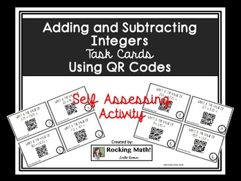 Adding and Subtracting Integers QR Code Task Cards
