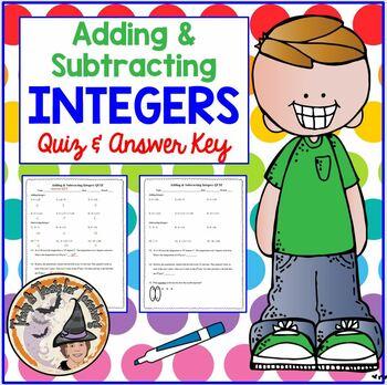 Adding and Subtracting Integers QUIZ Add Subtract Integer Practice Worksheet