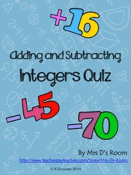 Adding and Subtracting Integers Quiz