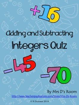Adding and Subtracting Integers Quiz