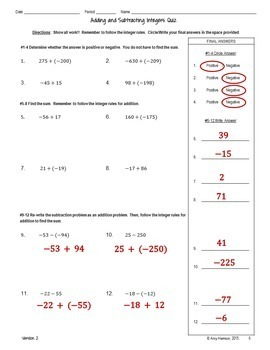 Adding and Subtracting Integers Quiz (Two Versions and Blank Template)