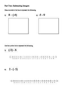 Adding and Subtracting Integers Quiz (draw counters and numberline)