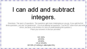 Adding and Subtracting Integers Real-World Problems 7.NS.A1