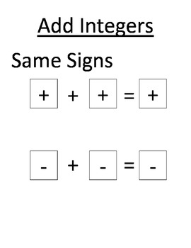 Math Worksheets Adding Andtracting Integers Worksheet Rules For ...
