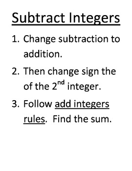 Adding and Subtracting Integers Rules as Wall Posters