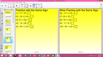 Adding and Subtracting Integers - SMART Board Lesson