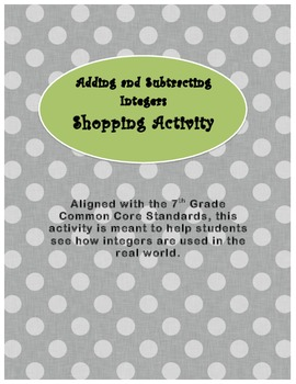 Adding and Subtracting Integers Shopping Activity
