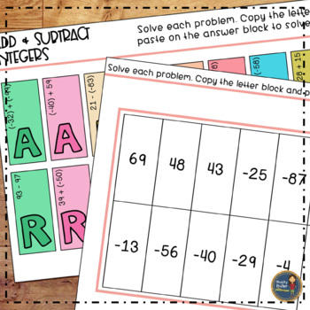 Adding and Subtracting Integers Solve, Color, Cut