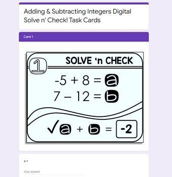 Adding and Subtracting Integers Solve 'n Check! Task Cards