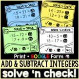 Adding and Subtracting Integers Solve 'n Check! Tasks - pr