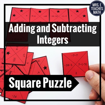 Integers: Addition and Subtraction Square Puzzle