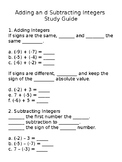 Adding and Subtracting Integers Study Guide
