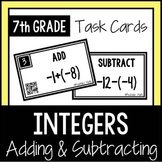 Adding and Subtracting Integers TASK CARDS with QR Codes 7th Grade