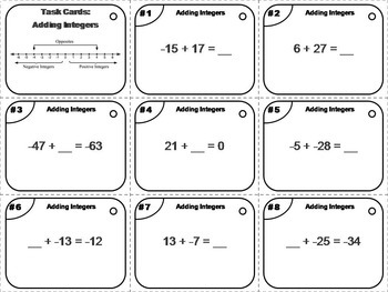 Adding and Subtracting Integers Task Cards Bundle 5th 6th 7th 8th Grade