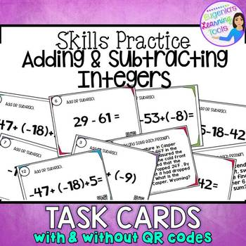 Adding and Subtracting Integers Task Cards with & without QR codes