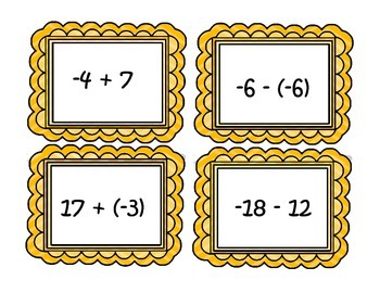 Adding and Subtracting Integers Task Cards/Matching