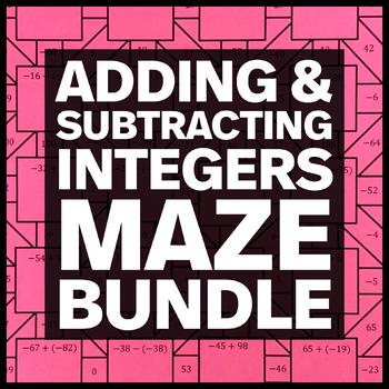 Adding and Subtracting Integers - Three Mazes + Three Bonus Mini Mazes