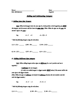 Adding and Subtracting Integers Unit
