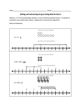 Adding and Subtracting Integers Using Models